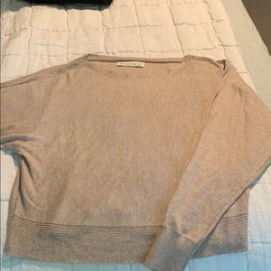 Tan A&F boatneck sweater